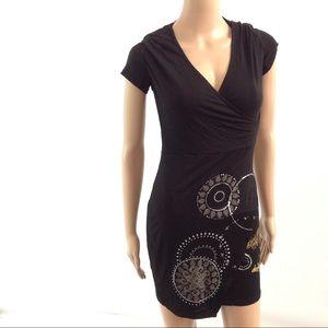 Desigual Women Mini Jersey Dress Size XXS Black